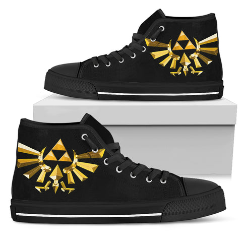 Zelda Triangle Symbol -Men's High Top Canvas Shoe
