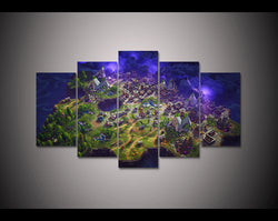 Fortnite Battle Royale Map - 5 Piece Canvas Wall Art