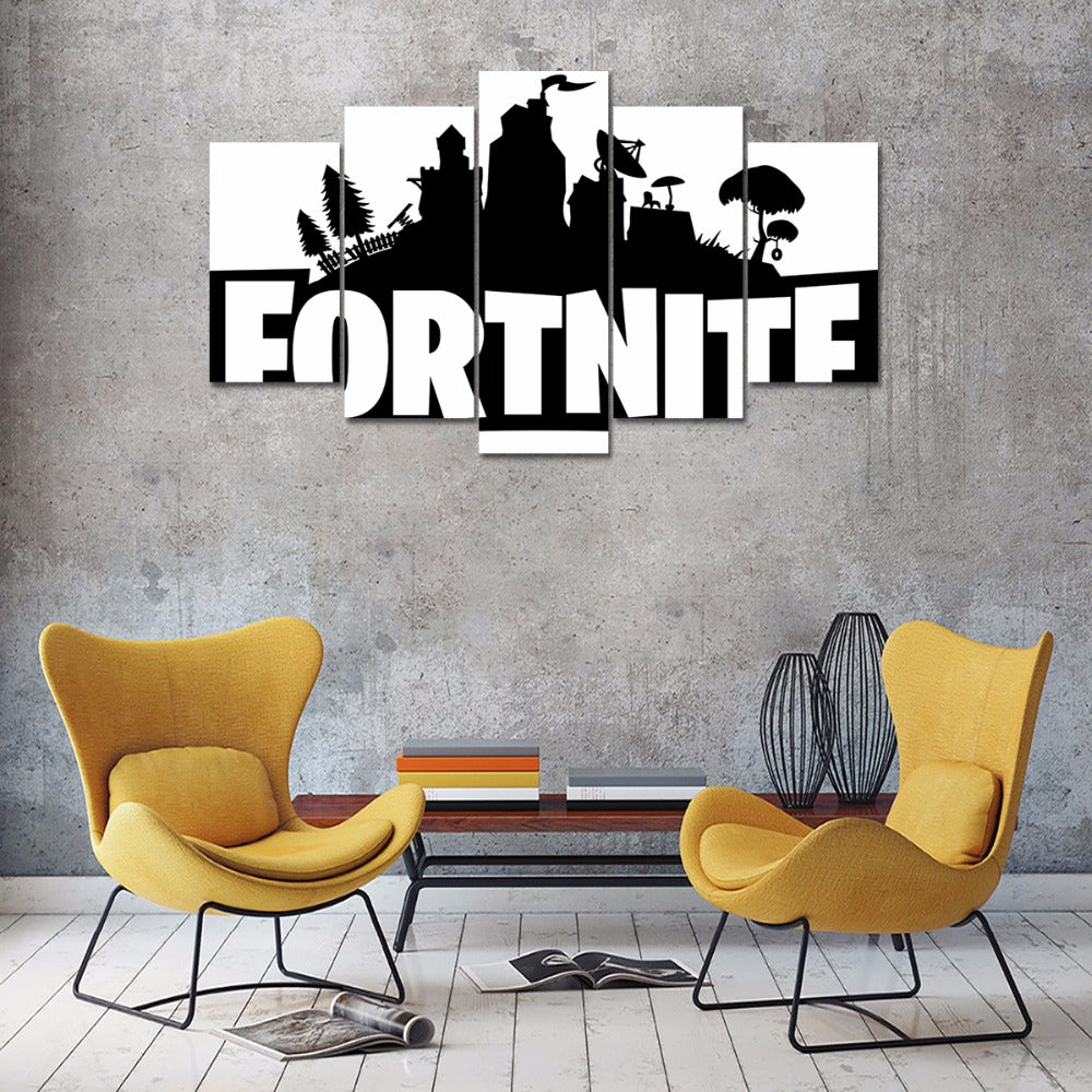 Fortnite Battle Royale Black Amp White 5 Piece Canvas Wall