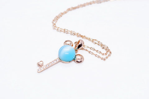 18K Gold Plated Cat's Eye Stone Mickey Necklace