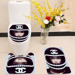 COCO Chanel Style Toilet Rug Lid Cover 3 Piece Bath Mat Set
