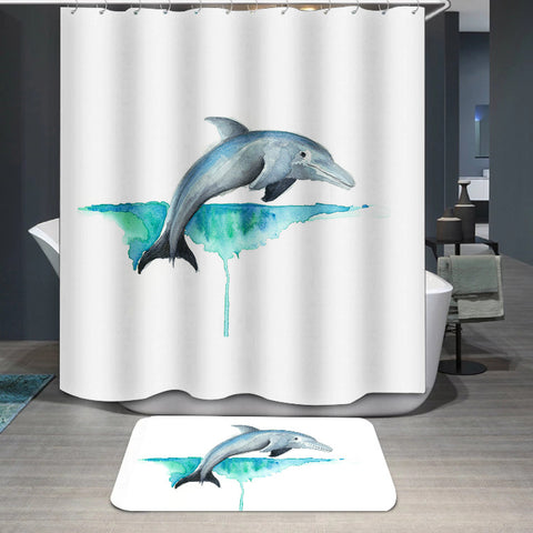 Animal Dolphin Printed Custom Shower Curtain