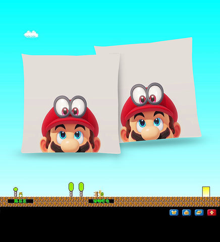 Super Mario Odyssey Throw Pillow Cushion 2 [Cover+Insert] Accept Custom Orders