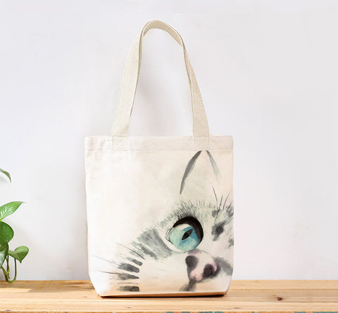 A Cats Focus Watercolor Custom Canvas Tote Bag