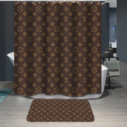Louis Vuitton Logo Pattern Custom Shower Curtain