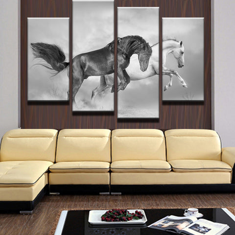 White And Black Horses - 4 Piece Canvas Wall Art