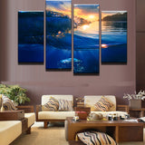Sunrise Beach Landscape - 4 Piece Canvas Wall Art