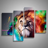 Abstract Colorful Lion - 4 Piece Canvas Wall Art