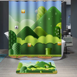 Super Mario Backgrounds Custom Shower Curtain