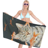 Cat and Fish Custom Bath Towels Hand Towels for Sports