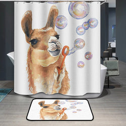 Llama Funny Cute Animal Custom Shower Curtain