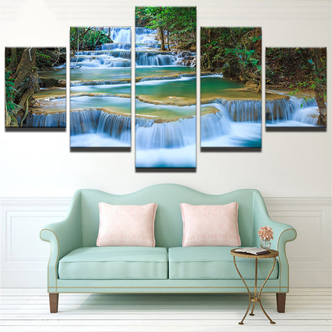 Beautiful Waterfall #2 - 5 Piece Canvas Wall Art