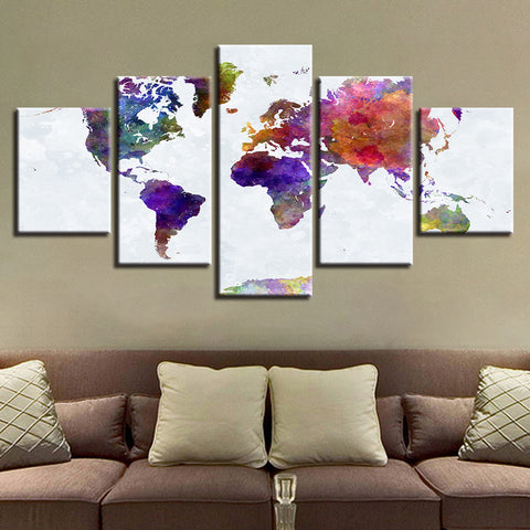 Colorful abstract graffiti world map 5 piece canvas wall art gumiabroncs Choice Image