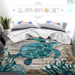 3D Digital Printing Sea Turtle Custom Printed Summer Quilt Blanket