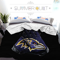 NFL Baltimore Ravens Gloves Custom Printed Summer Quilt Blanket