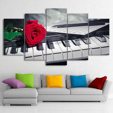 Piano Red Rose Flowers   5 Piece Canvas Wall Art