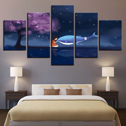 Dolphin And Girl Cherry Blossom Tree - 5 Piece Canvas Wall Art