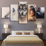 American Indian Native And Wolves - 5 Piece Canvas Wall Art