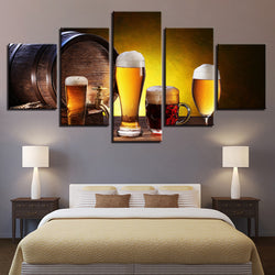 Beer And Wine Glass Oak Barrels - 5 Piece Canvas Wall Art