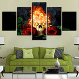 Halloween Horror Skull Canvass Fire Red Roses Abstract - 5 Piece Canvas Wall Art