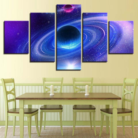 Galaxy Universe Space Abstract Planet - 5 Piece Canvas Wall Art ...