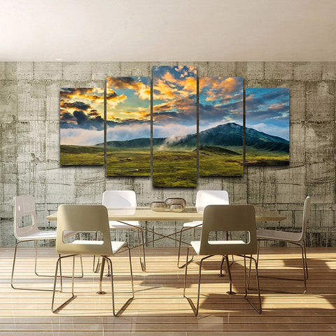 Green Grass Lawn And Mountains 5 Piece Canvas Wall Art Itdayshop