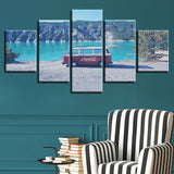 Mini Bus Car Seaview Mountain Lake - 5 Piece Canvas Wall Art