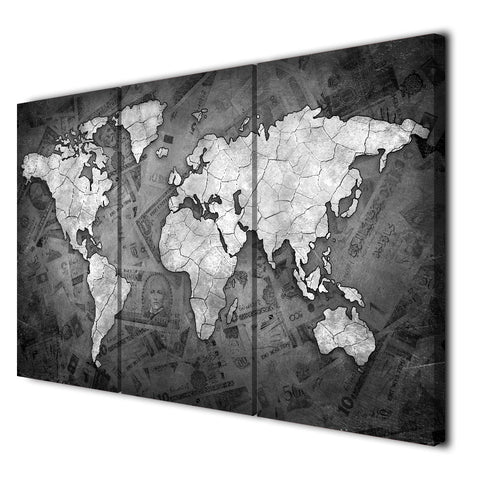 Retro World Map Black And White 3 Piece Canvas Wall Art Itdayshop