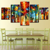 Abstract Color Tree Walking In The Rain - 5 Piece Canvas Wall Art