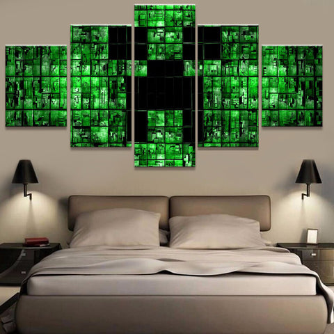 Minecraft Abstract Game Printed Canvas Art - 5 Piece Canvas Wall Art