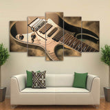 Electric Guitar Pictures Vintage Music Instrument - 5 Piece Canvas Wall Art
