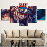 Indians Girl Feather Portraits - 5 Piece Canvas Wall Art
