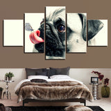 Cute Pet Dog Pugs Butterfly - 5 Piece Canvas Wall Art