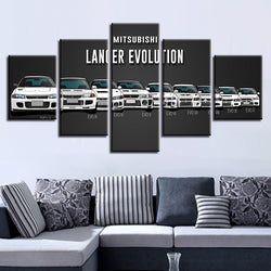 Cars Abstract Vintage - 5 Piece Canvas Wall Art