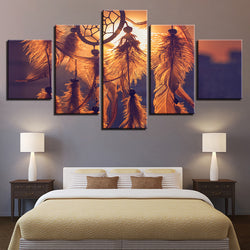 Sunset Dreamcatcher Pictures Feather - 5 Piece Canvas Wall Art