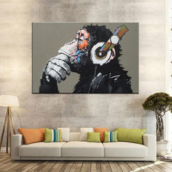 Thinking Monkey With Headphone - 1 Piece Canvas Wall Art