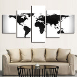 Black And White World Map Vintage Canvass - 5 Piece Canvas Wall Art
