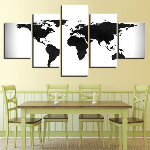 Black And White World Map Vintage Canvass - 5 Piece Canvas Wall Art ...