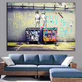 Art Life Is Short Chill The Duck Out by Banksy - 1 Piece Canvas Wall Art