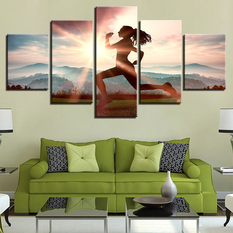 Sports Poster Girl Running In The Sunshine   5 Piece Canvas Wall Art