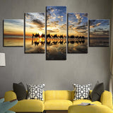 Beach Sunset Seaside Camels Team - 5 Piece Canvas Wall Art