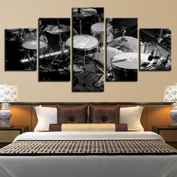 Music Instrument Black White Drums - 5 Piece Canvas Wall Art