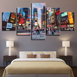 Flourishing Times Square New York City Streets - 5 Piece Canvas Wall Art