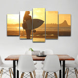 Backlighting Surfer Girl Beach Scenery - 5 Piece Canvas Wall Art