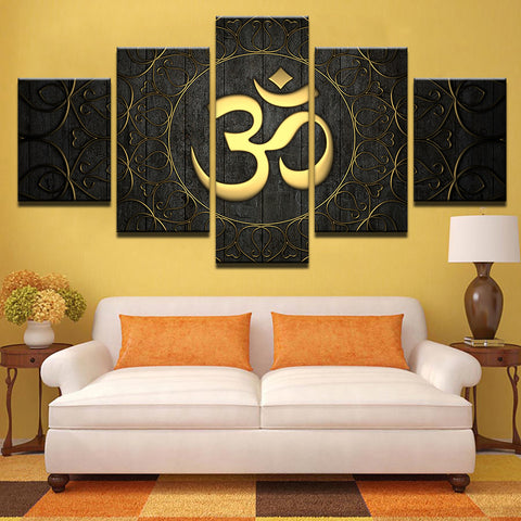 Buddha Om Yoga Golden Symbol 5 Piece Canvas Wall Art Itdayshop
