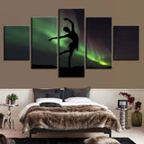 Ballet Girl Dancing In The Aurora - 5 Piece Canvas Wall Art