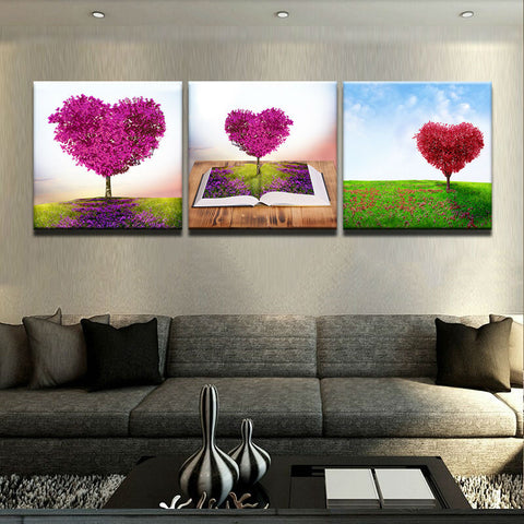Purple Romantic Heart Love Tree 3 Piece Canvas Wall Art Itdayshop