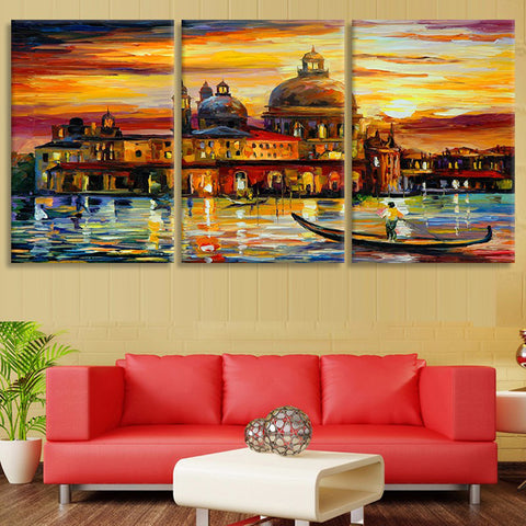 Colorful Building Oil Painting HD Printed Canvas Art - 3 Piece ...
