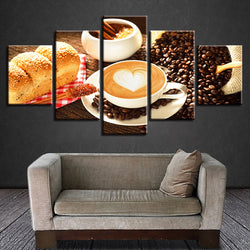 Coffee Bread Kitchen Theme - 5 Piece Canvas Wall Art