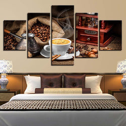 Coffee Artistic Kitchen Theme - 5 Piece Canvas Wall Art